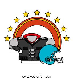 american football sport helmet with front shirt