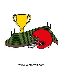 american football sport helmet with trophy cup and camp