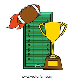 american football sport balloon with trophy cup and camp