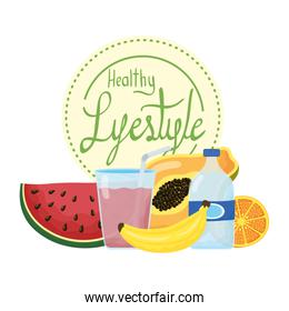 healthy life style lettering and set icons