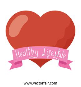 heart love with ribbon healthy lifestyle