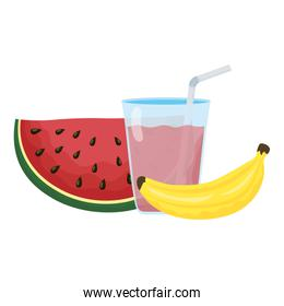 fresh watermelon fruit and banana with juice