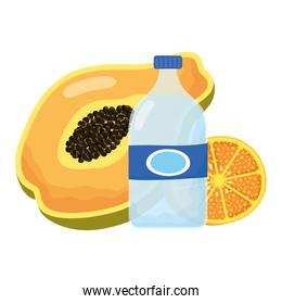 tropical papaya with orange and water bottle