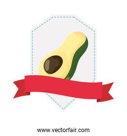 avocado fresh vegetable with ribbon frame