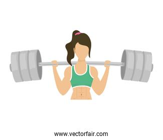 young woman athlete weight lifting