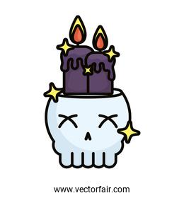 skull head with candles and stars magic sorcery