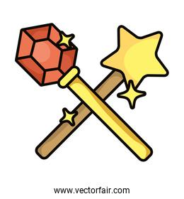wand magic sorcery isolated icon