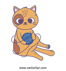 cute little cat playing with wool ball icon design