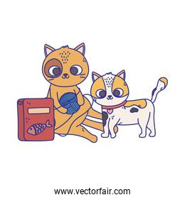 cats make me happy, cute cats playing ball of wool and food cartoon