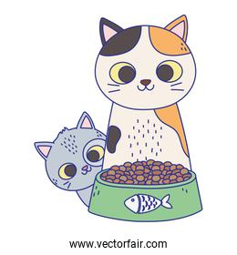 cats make me happy, cute cats with bowl food cartoon