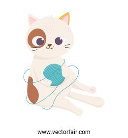 cats make me happy, spotted cat with ball of wool cartoon