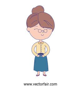 old woman with glasses cartoon character