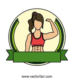 young strong woman athlete in frame