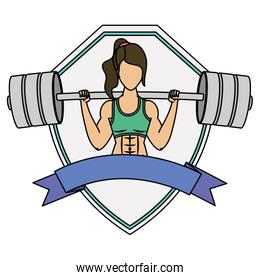 young woman athlete weight lifting character