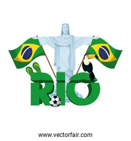 rio carnival poster with lettering and corcovade christ