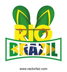 brazil carnival poster with lettering and sandals