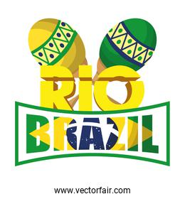 brazil carnival poster with lettering and maracas
