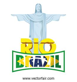 brazil carnival poster with lettering and corcovade