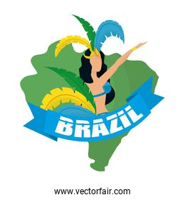 brazil carnival poster with lettering and garota dancing in map