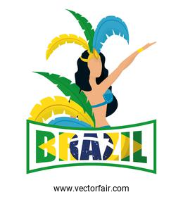 brazil carnival poster with lettering and garota dancing