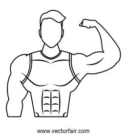 young strong man athlete character