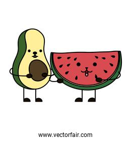 avocado with watermelon kawaii characters