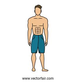young man athlete without shirt