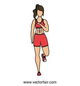 young woman athlete running character