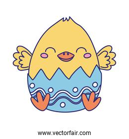 happy easter, cute chicken in eggshell decoration cartoon