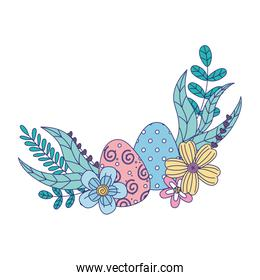 happy easter day, beauty eggs flowers foliage leaves decoration