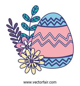 easter egg with pink and blue decoration fowers foliage leaves