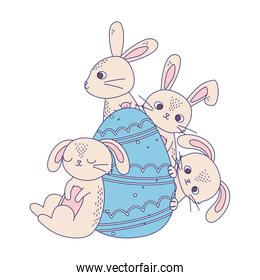 happy easter day, cute rabbits with blue egg decoration