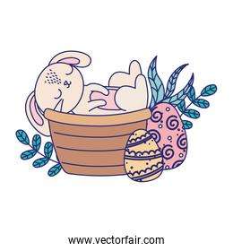 happy easter day, rabbit in basket eggs nature