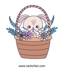 happy easter day, cute rabbit in basket flowers foliage nature