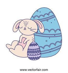 happy easter day, pink rabbit decorative blue and purple eggs cartoon