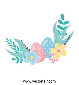 happy easter day, beauty eggs flowers foliage leaves