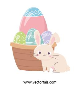 happy easter day, rabbit basket with decorative eggs celebration