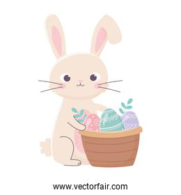 happy easter day, rabbit with basket eggs leaves cartoon