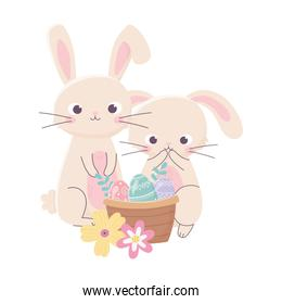 happy easter day, cute rabbits eggs in basket flowers nature