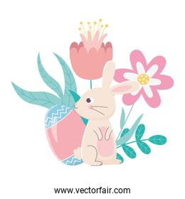 happy easter day, rabbit and egg with  flowers decoration