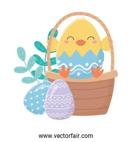 happy easter day, chicken in eggshell basket eggs decoration