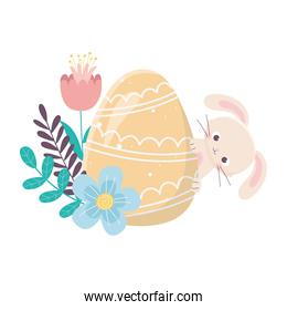 happy easter day, rabbit with yellow egg and flowers foliage