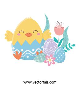 happy easter day, chicken eggshell with flowers eggs