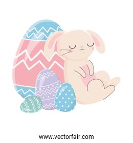 happy easter day, sleeping rabbit with eggs decoration