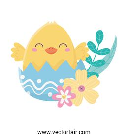 happy easter day, chicken eggshell flowers leaves decoration card