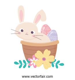 happy easter day, rabbit in basket painted egg flowers decoration