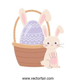happy easter day, cute rabbit and egg with ears in basket decoration
