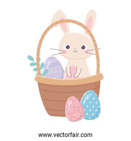 happy easter day, rabbit in basket with egg leaves grass
