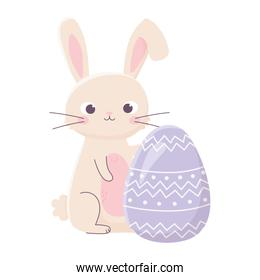 happy easter cute rabbit with egg decoration celebration