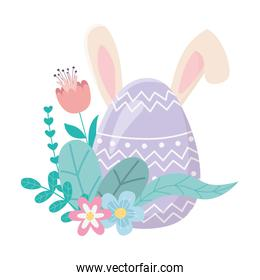 happy easter day, cute egg with ears flowers foliage decoration